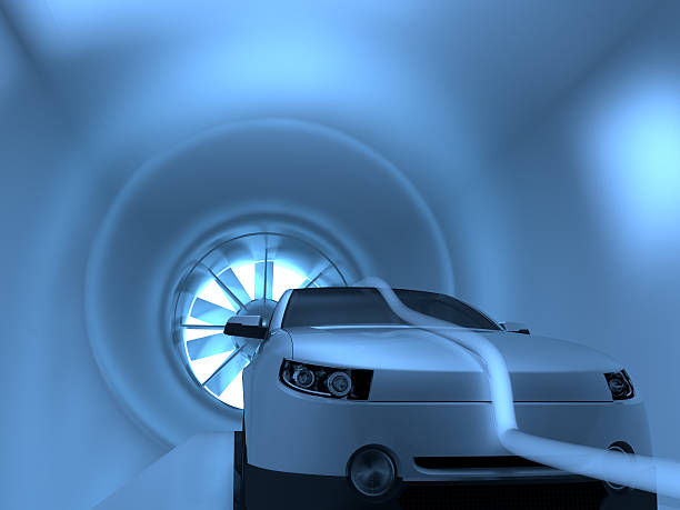 Wind Tunnel 3D illustration of car in wind tunnel aerodynamic stock pictures, royalty-free photos & images