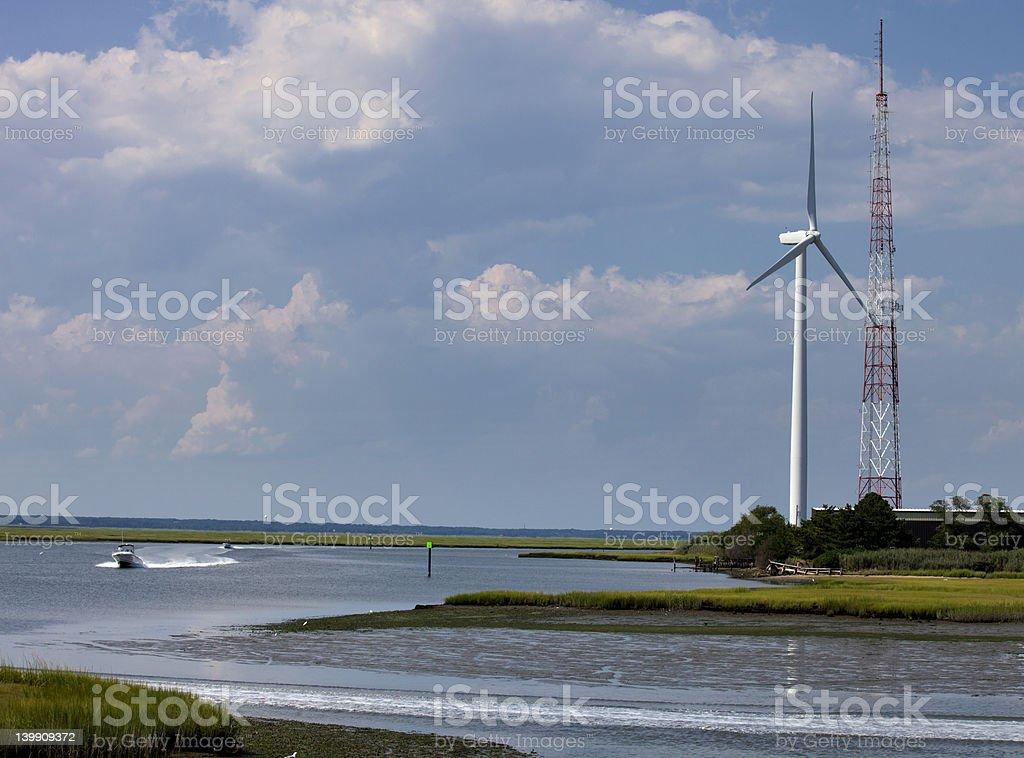 Wind Turbine along wetland habitat royalty-free stock photo