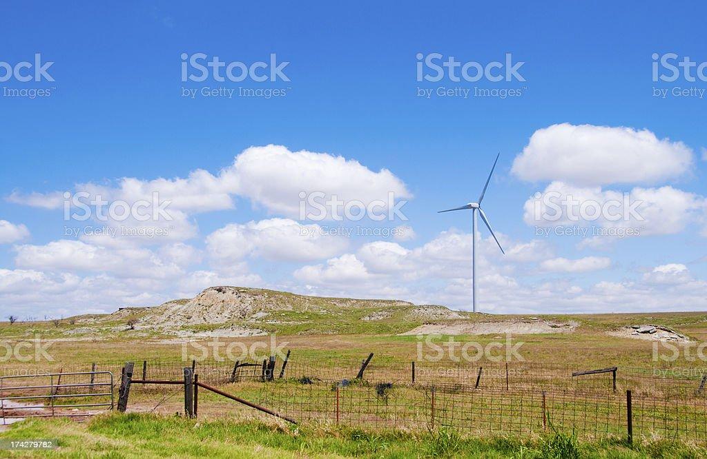 Wind Turbine and Big Sky stock photo