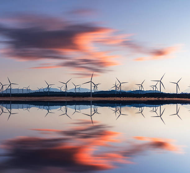 wind turbine and electrical towers on sunset - power in nature stock photos and pictures