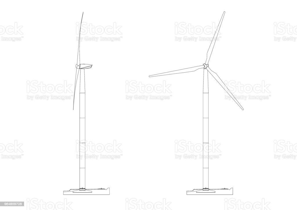 Wind Turbine Architect blueprint - isolated royalty-free stock photo