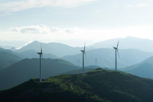 Wind turbine at tea farm stock photo