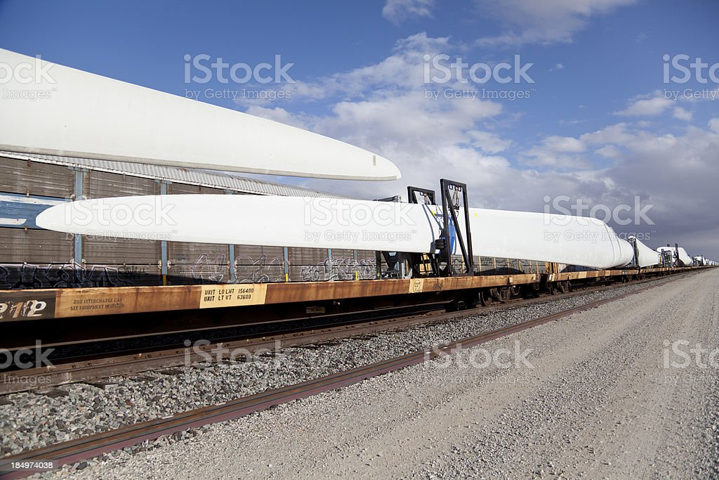 Wind Turbine Blades being Shipped on Rail Cars stock photo