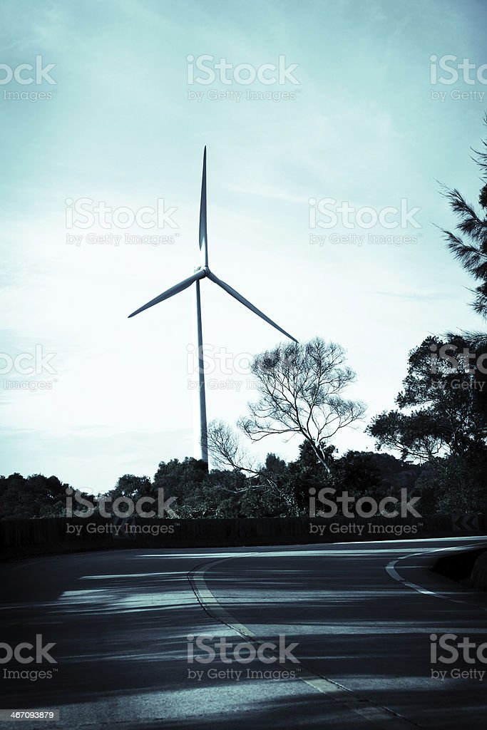 Wind Turbine by the Road royalty-free stock photo