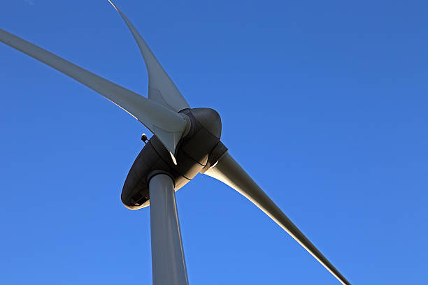Wind Turbine Closeup View stock photo