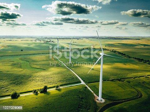 istock wind turbine farm aerial view 1227029069