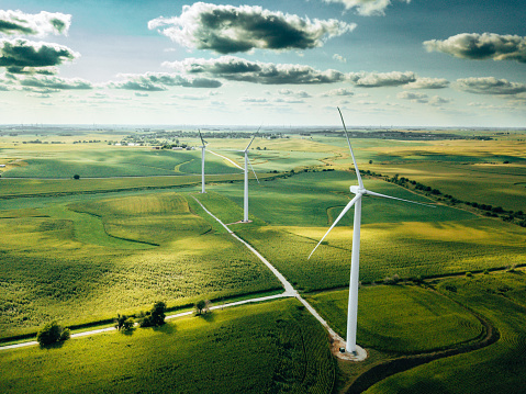 wind turbine farm aerial view