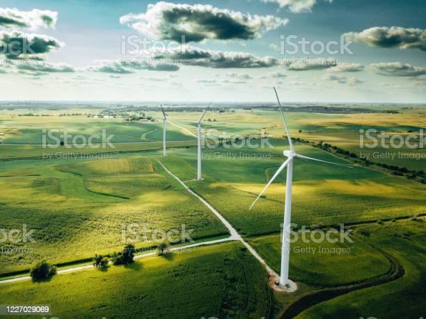 Photo of wind turbine farm aerial view