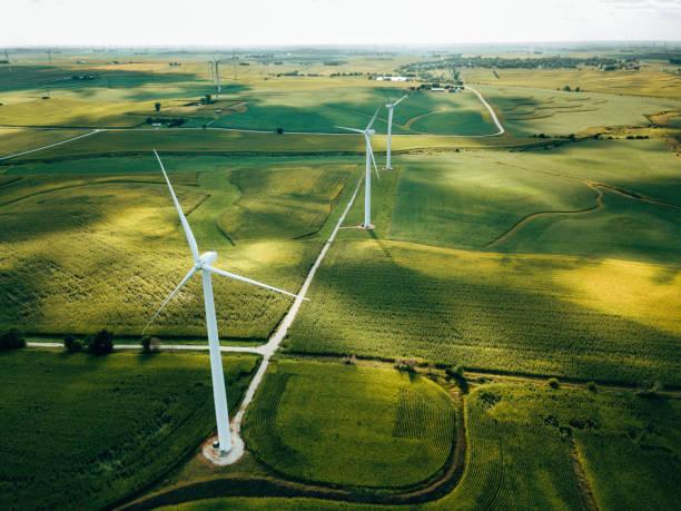 wind turbine farm aerial view stock photo