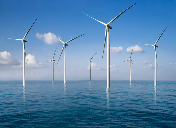 Wind turbine farm in beautiful nature landscape. Wind turbine farm power generator in beautiful nature landscape for production of renewable green energy is friendly industry to environment. Concept of sustainable development technology. windmill stock pictures, royalty-free photos & images