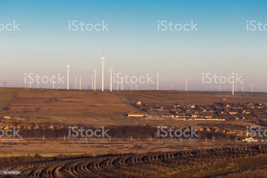 Wind turbine field stock photo