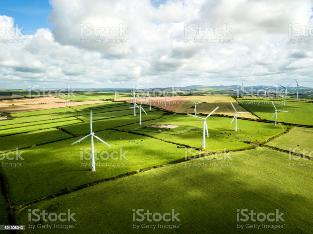 Wind turbine fields in Cornwall stock photo