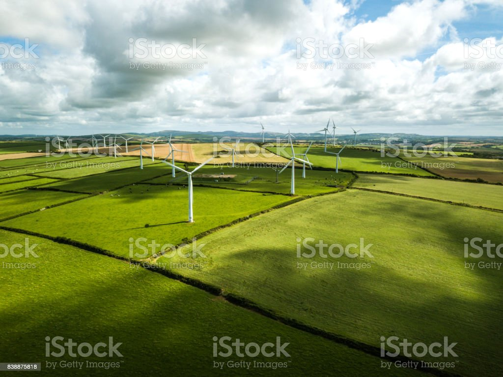 Wind turbine fields in UK stock photo