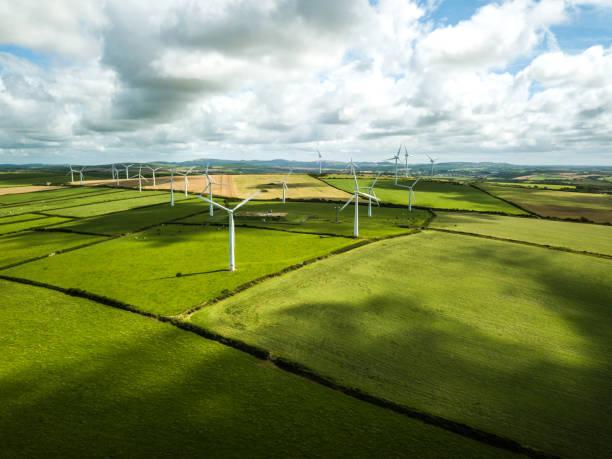 Wind turbine fields in UK stock photo