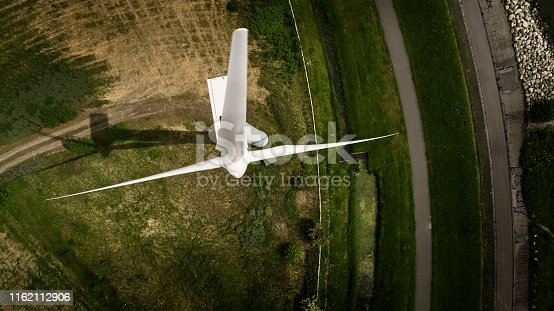 Power turbine seen from above-the windmill is seen directly from above.
