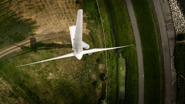 Windkraftanlage von oben – Foto