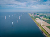Wind turbine from aerial view, Drone view at windpark westermeerdijk a windmill farm in the lake IJsselmeer the biggest in the Netherlands,Sustainable development, renewable energy Netherlands