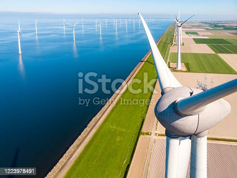 Wind turbine from aerial view, Drone view at windpark westermeerdijk a windmill farm in the lake IJsselmeer the biggest in the Netherlands,Sustainable development, renewable energy, drone view