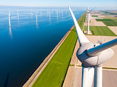 istock Wind turbine from aerial view, Drone view at windpark westermeerdijk a windmill farm in the lake IJsselmeer the biggest in the Netherlands,Sustainable development, renewable energy 1223978491