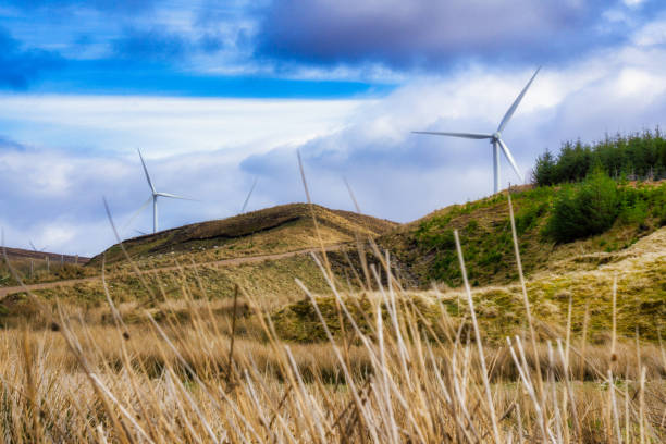 Wind Turbine generating renewable energy in Scottish Highlands stock photo