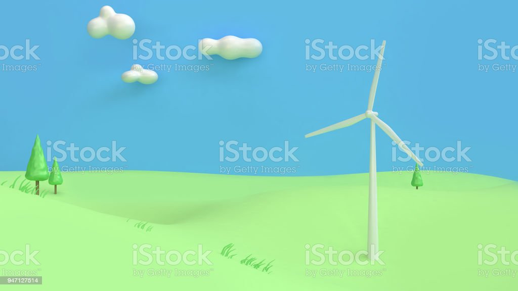 wind turbine green field mountain blue sky cartoon style abstract 3d rendering,renewable energy environment save earth concept stock photo