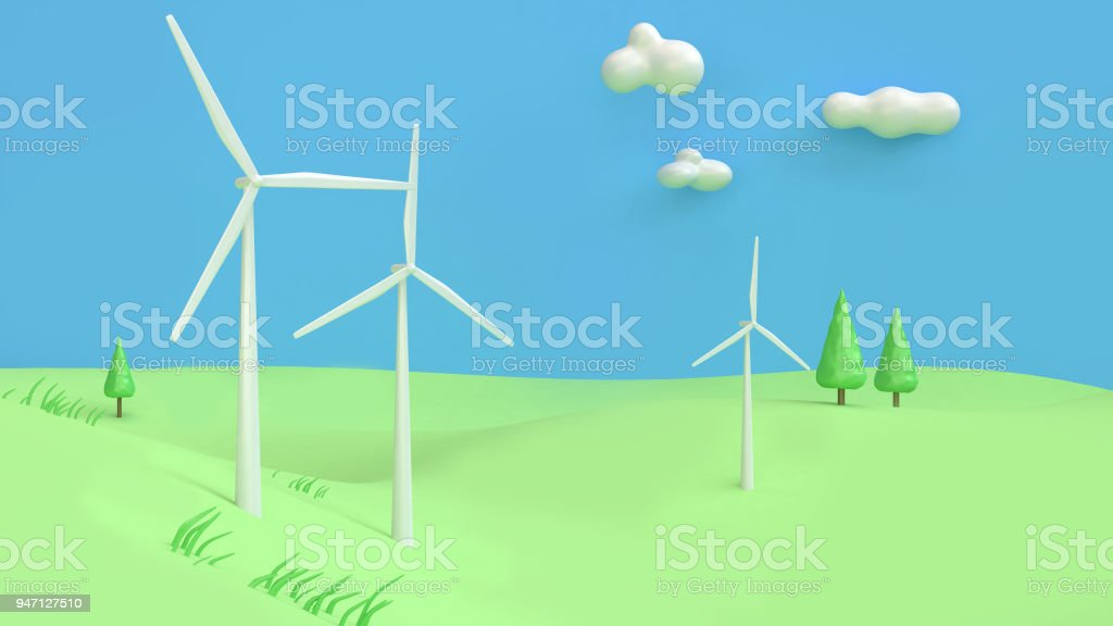 wind turbine green hill blue sky cartoon style abstract 3d rendering,renewable energy environment save earth concept stock photo