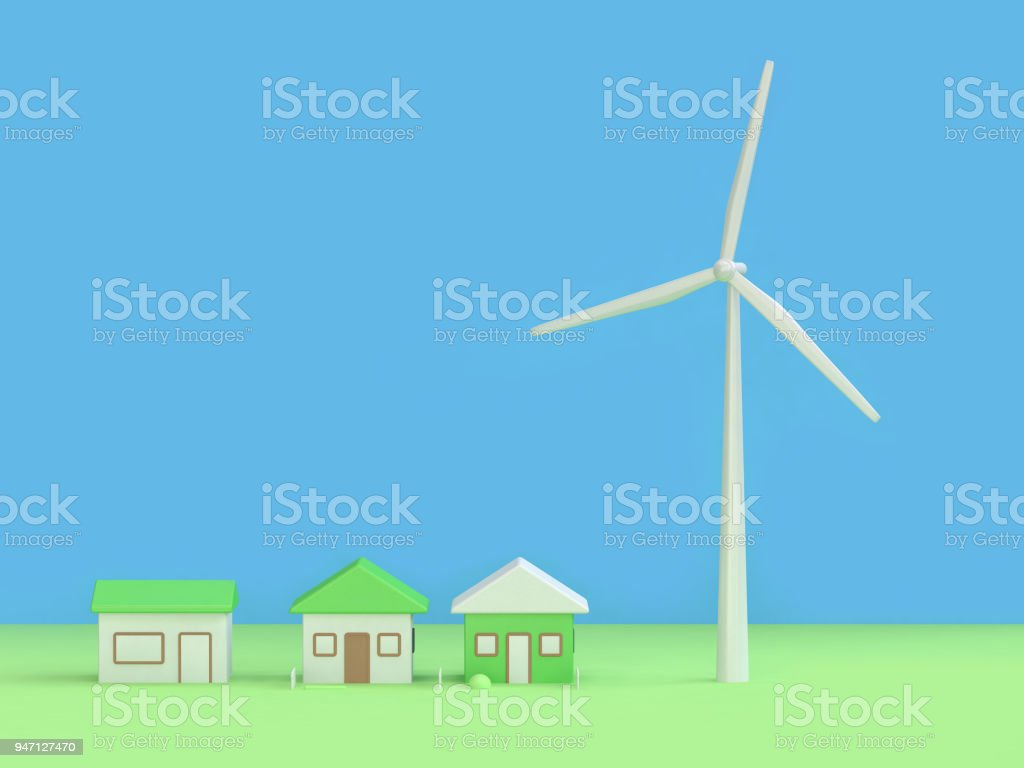 wind turbine house abstract green blue background 3d rendering,renewable energy environment save earth concept stock photo