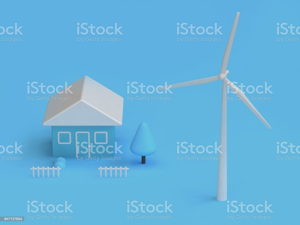 wind turbine house of blue abstract scene 3d rendering,renewable energy environment save earth concept stock photo
