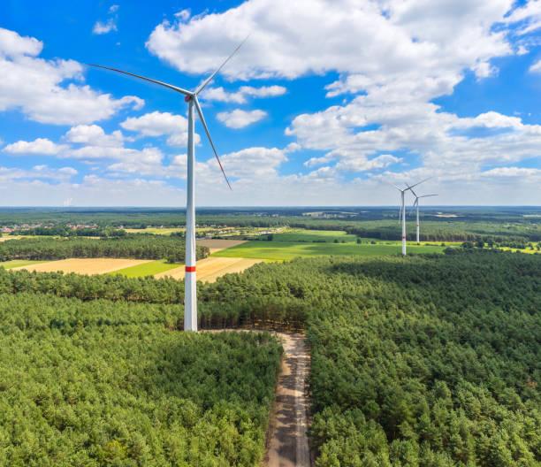 windkraftanlage in waldluft- und nahaufnahme - tim siegert stock-fotos und bilder