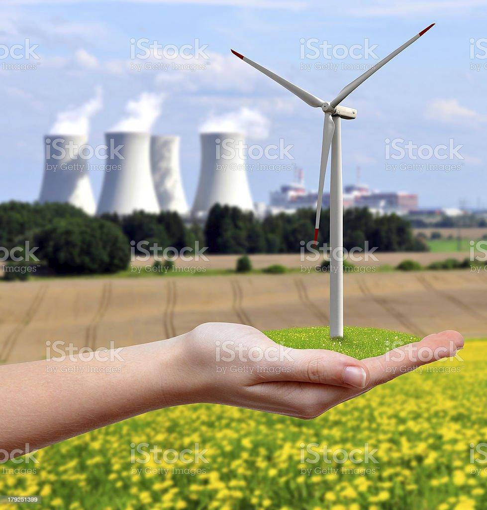 Wind turbine in hand royalty-free stock photo