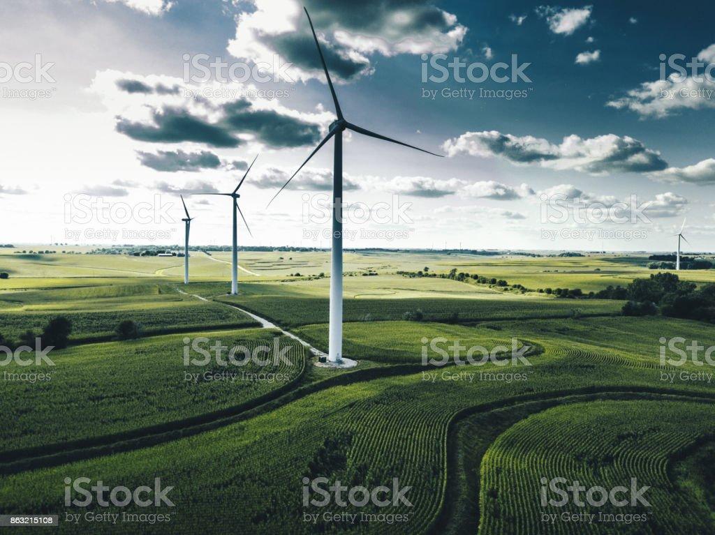 wind turbine in iowa stock photo