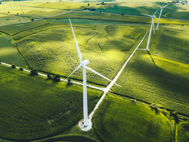 wind turbine in iowa stock photo