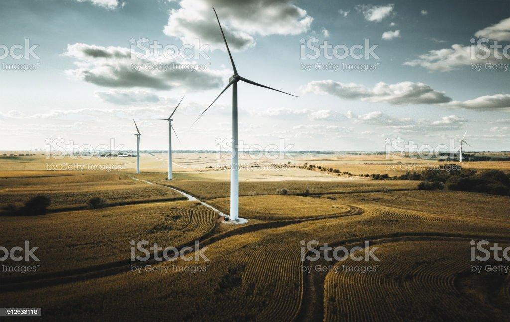 wind turbine in nebraska stock photo