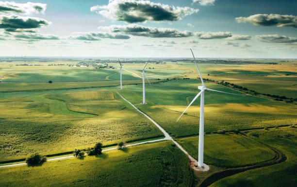 wind turbine in usa stock photo