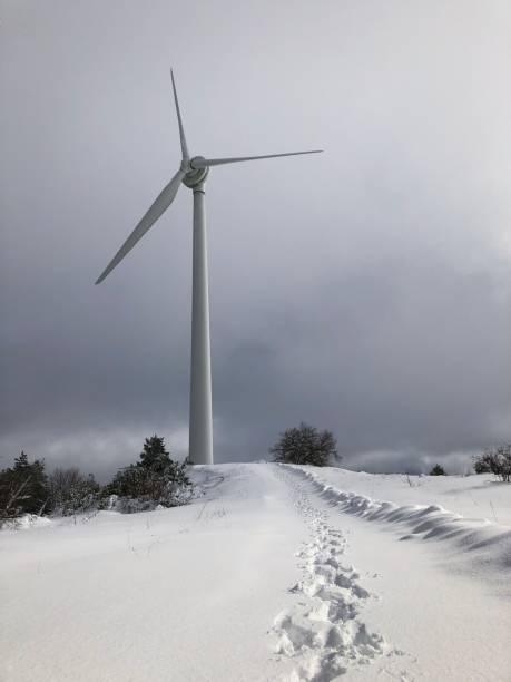 Wind turbine in winter. stock photo
