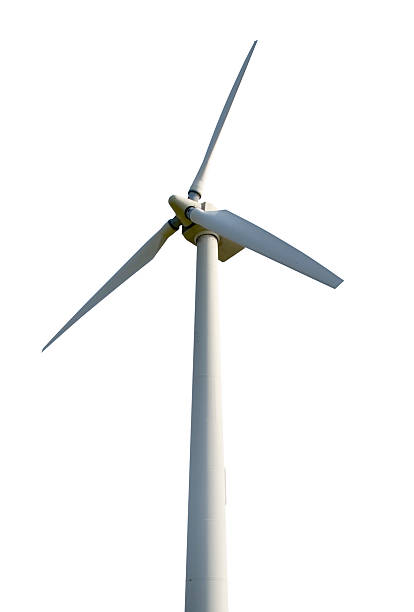 wind turbine isolated on white background - windmolen stockfoto's en -beelden
