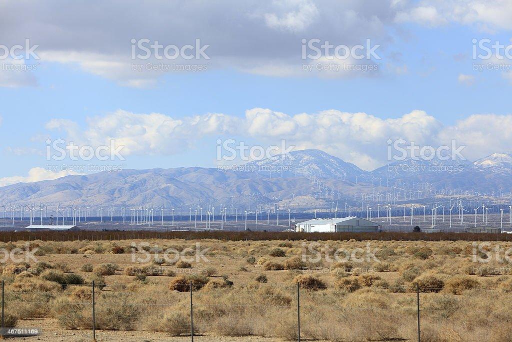 Wind Turbine Landscape In The Mojave Desert stock photo
