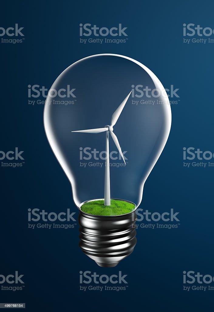 Wind Turbine on Grassland Inside a Light Bulb stock photo