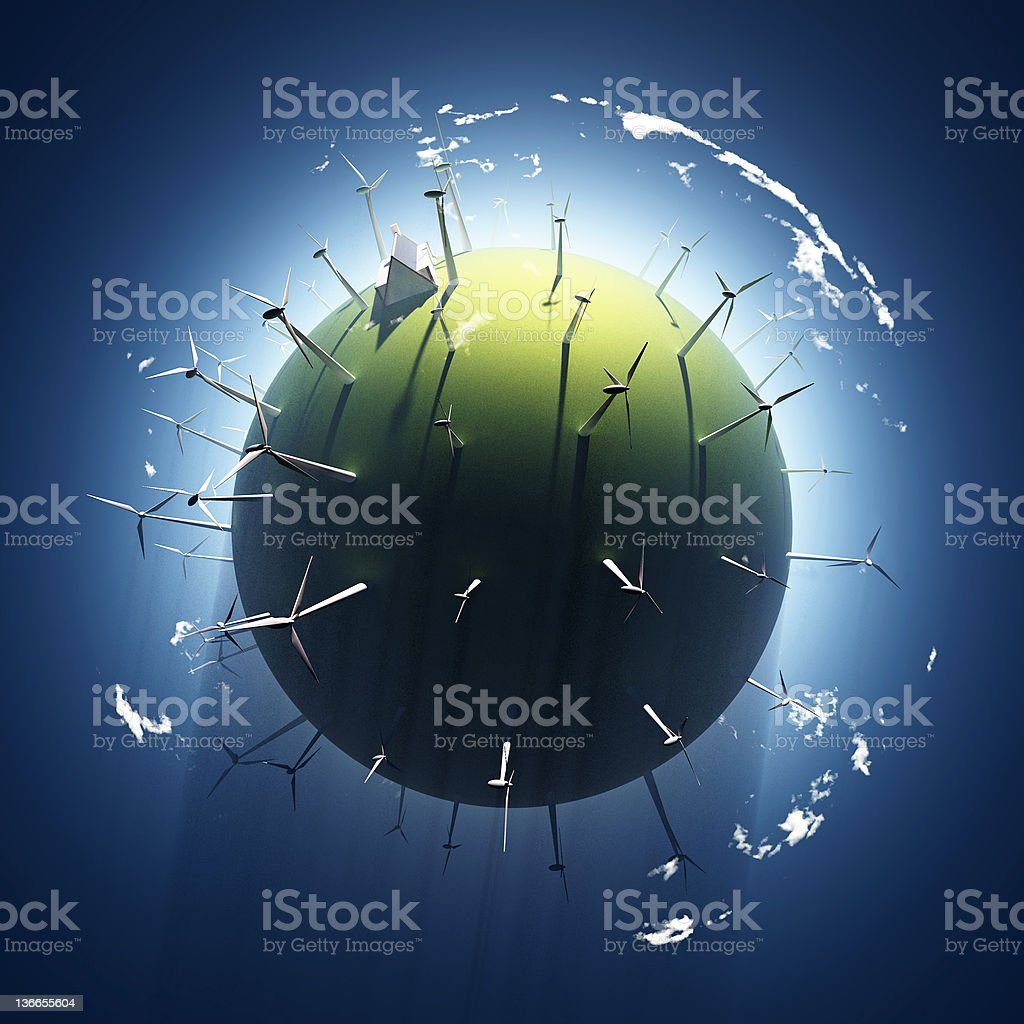 wind turbine on green planet stock photo