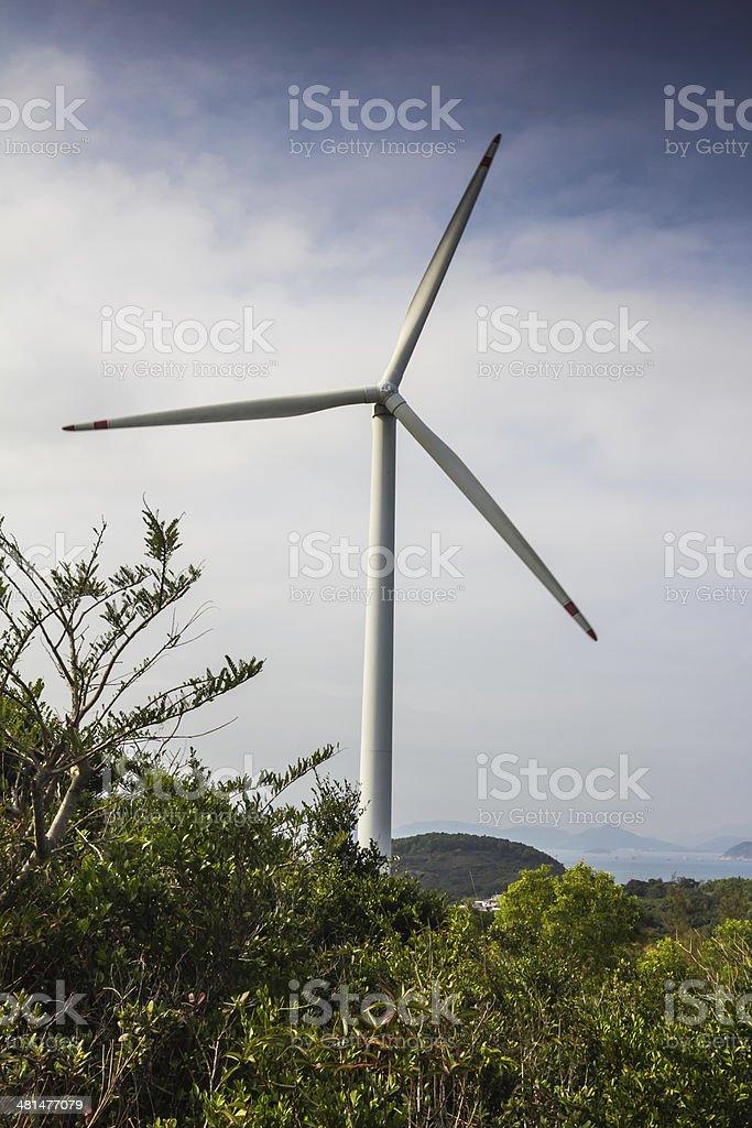 Wind Turbine on Lamma Island stock photo