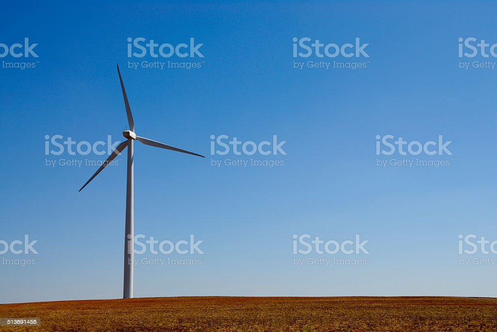 Wind turbine on the Texas prairie. stock photo