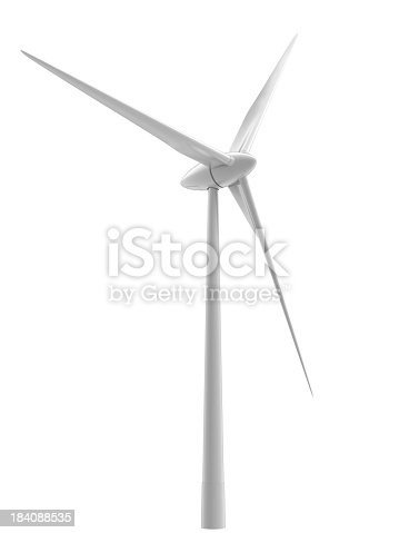 high-quality image of wind turbine. Isolated on white