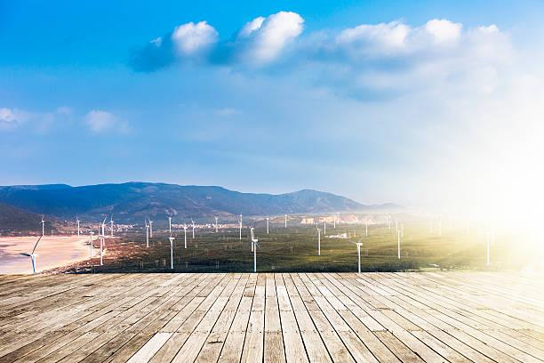 wind turbine - terrassen deck design stock-fotos und bilder