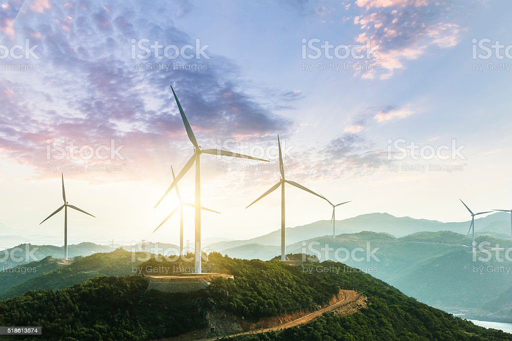 Wind Turbine Wind Turbine sin sunset, china. Accidents and Disasters Stock Photo