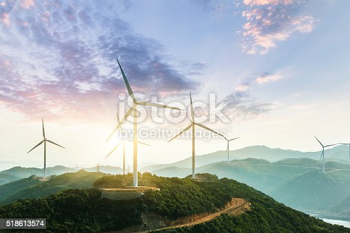 Wind Turbine sin sunset, china.