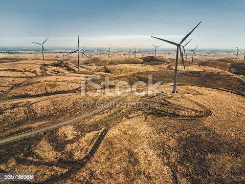 wind turbine plantation in california