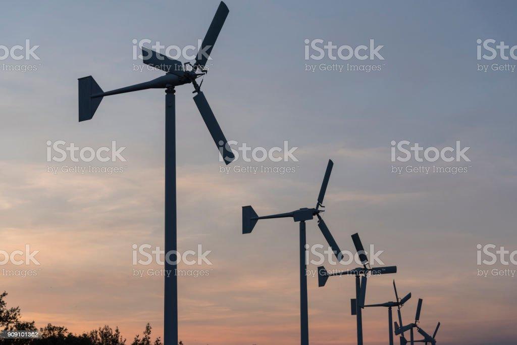 Wind turbine, Renewable energy for electrical power stock photo
