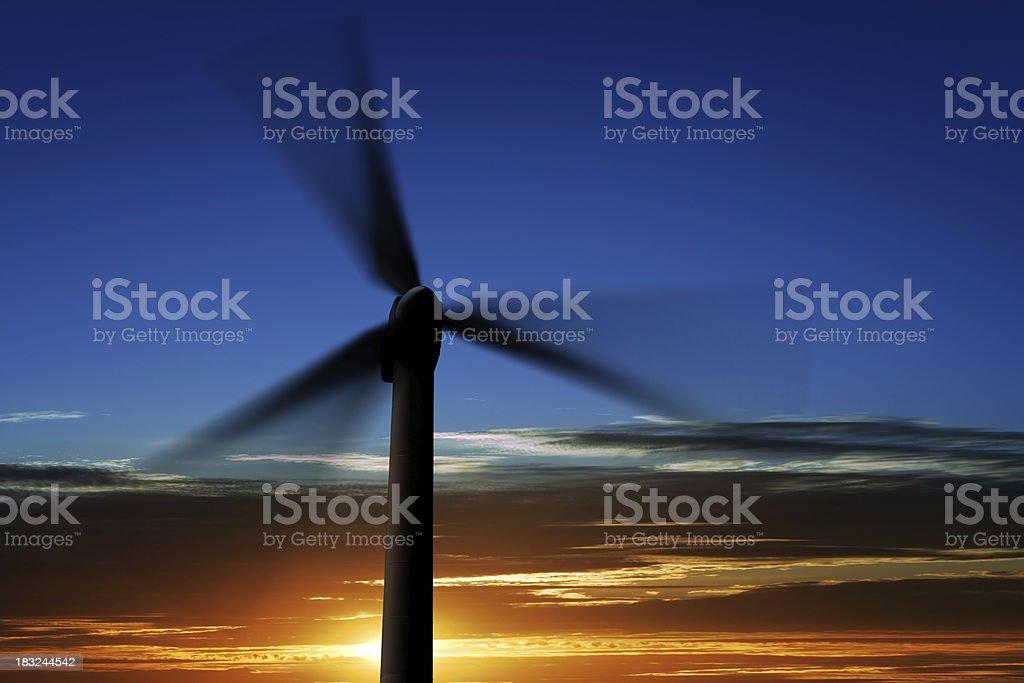 XL wind turbine silhouette royalty-free stock photo