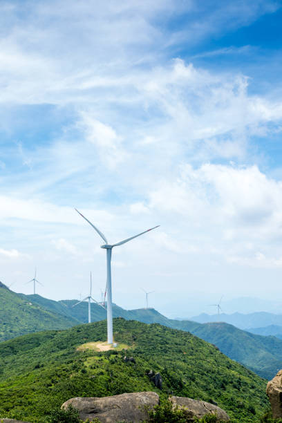 Wind Turbine sin sunset, china. stock photo