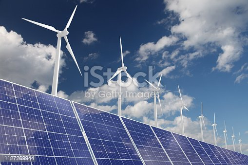 Wind turbine solar panel renewable energy